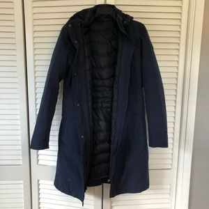 The North Face 3in1 navy parka coat size M